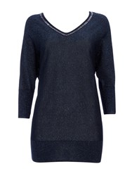 Wallis Navy V Neck Trim Sparkle Jumper