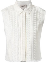 Sea Jacquard Sleeveless Shirt White