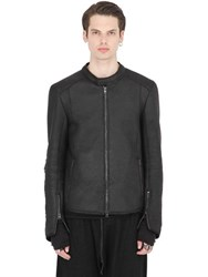 Isabel Benenato Shearling Effect Leather Moto Jacket