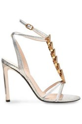 Roberto Cavalli Woman Embellished Snake Effect Leather Sandals Silver