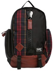 Supe Design Mountain Techno Plaid Canvas Backpack