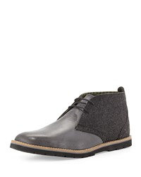 Ben Sherman Masters Leather Wool Chukka Boot Black