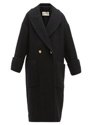 Alexandre Vauthier Double Breasted Wool Blend Tweed Coat Black