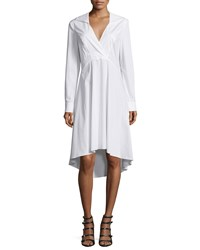Halston Heritage Long Sleeve V Neck Shirtdress Linen White