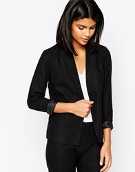 Asos Tailored Blazer In Linen Black