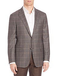 Hickey Freeman Plaid Wool Blazer Grey