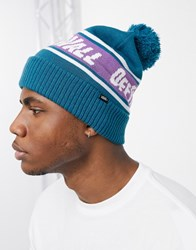 Vans Off The Wall Pom Beanie In Blue