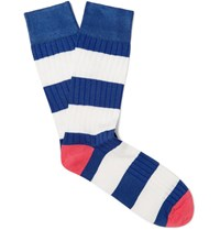 Corgi Striped Cotton Blend Socks Blue