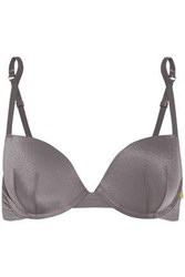 Elle Macpherson The Body Perforated Stretch Jersey Underwired Bra Gray