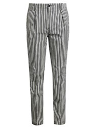 Etro Stripe Print Cotton Blend Trousers Blue Multi