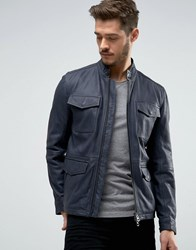Boss Orange By Hugo Leather Jacket 4 Pocket Navy