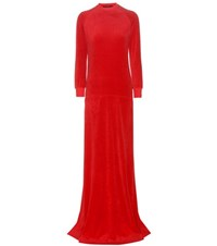 Vetements X Juicy Couture Velour Maxi Dress Red