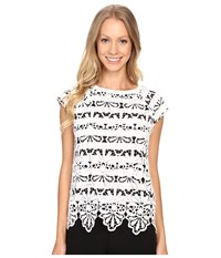 Adrianna Papell Lace Overlay Top W Stripe Underneath White Women's Short Sleeve Pullover