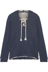 Splendid Lace Up French Cotton Terry Hooded Top Storm Blue