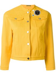 Peter Jensen Collarless Denim Jacket Yellow And Orange