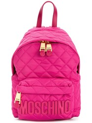 Moschino Quilted Backpack Pink Purple