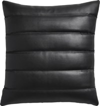 Cb2 Izzy Black Leather 18 Pillow With Feather Down Insert