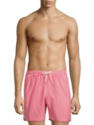 Barbour Gingham Swim Shorts Red