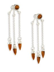 Pamela Love Three Stone Tiger's Eye And Sterling Silver Ear Jackets Silver Tigers Eye