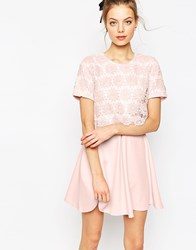 Asos Overlay Lace Dress With Scuba Skirt Pink