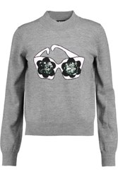 Markus Lupfer Daisy Sunglasses Sequined Intarsia Knit Merino Wool Sweater Gray