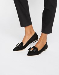 Carvela Bow Trim Slipper Loafers Black