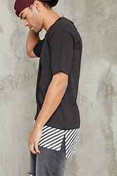 Forever 21 Striped Longline Crew Neck Tee Black White