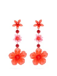 Isabel Marant Aloha Flower And Bead Embellished Earrings Red