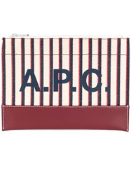 A.P.C. Striped Logo Print Clutch Neutrals