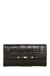 Diane Von Furstenberg Flap Embossed Croc Leather Wallet Black