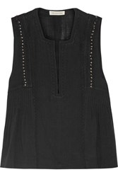 Etoile Isabel Marant Adonis Embellished Cotton Blend Gauze Top Black