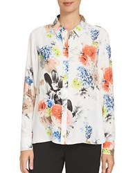 Cece Floral Patterned Blouse New Ivory