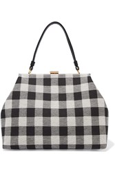 Mansur Gavriel Elegant Checked Canvas Tote Black