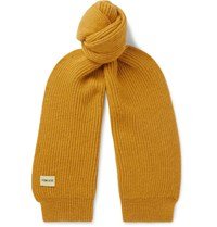 De Bonne Facture Ribbed Wool And Alpaca Blend Scarf Yellow