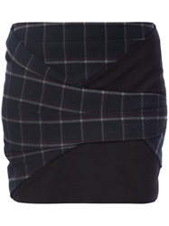 Thakoon Addition Wrapped Plaid Mini Skirt Blue