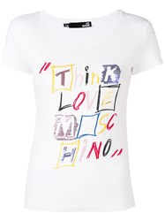 Love Moschino Sequin Embellished T Shirt White