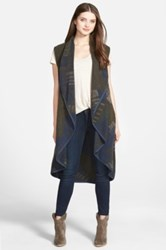 Nic Zoe Plush Jacquard Long Vest Regular And Petite Green