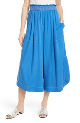 Tracy Reese Women's Soft Smocked Waist Culottes Aegean Blue