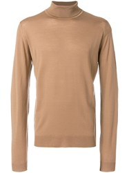 John Smedley Roll Neck Sweater Merino S Brown