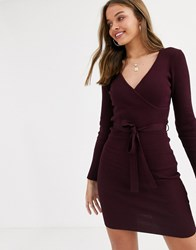 Lipsy Knitted Dress With Tie Waist In Burgundy Red