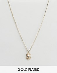 Orelia Gold Plated Scarab Charm Pendant Necklace