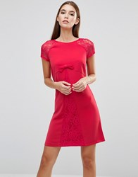 Paper Dolls Bow Front Lace Sleeve Dress Red