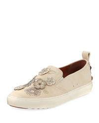 Coach Tea Rose Slip On Suede Sneakers Chalk