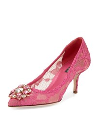 Dolce And Gabbana Jewel Embellished Lace Pump Fuchsia