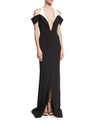 Thierry Mugler Plunging Off Shoulder Bicolor Cady Gown Black White Black White