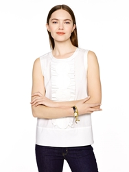 Kate Spade Poplin Scallop Sleeveless Top Fresh White