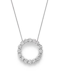 Bloomingdale's Diamond Open Circle Pendant Necklace In 14K White Gold 4.0 Ct. T.W. 100 Exclusive