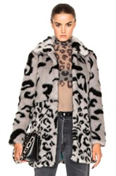 Shrimps Fayx Fur Lassie Coat In Gray Animal Print Gray Animal Print