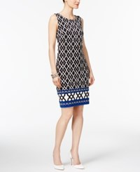 Inc International Concepts Printed Sheath Dress Only At Macy's Blue