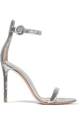 Gianvito Rossi Portofino Sequined Satin Sandals Silver